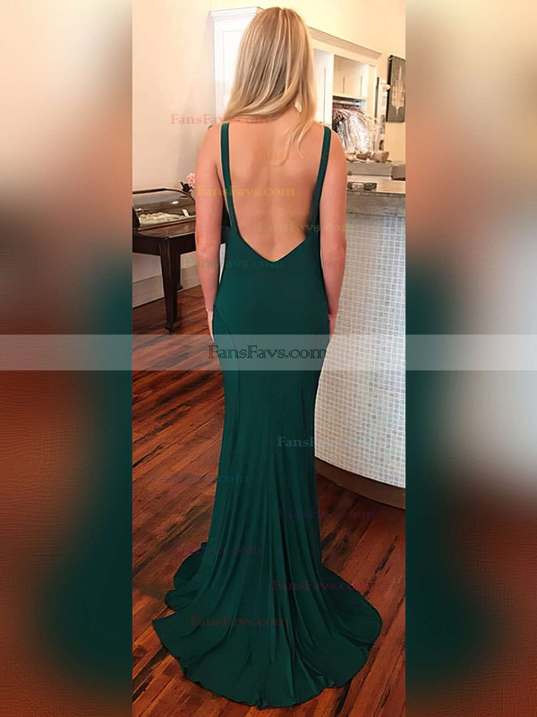 Sheath/Column Scoop Neck Jersey Sweep Train Prom Dresses #Favs020104884