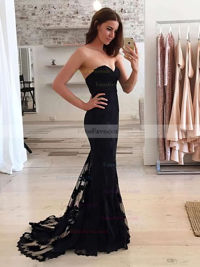 Trumpet/Mermaid Sweetheart Lace Sweep Train Appliques Lace Prom Dresses #Favs020103497