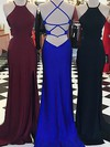 Sheath/Column Scoop Neck Jersey Sweep Train Split Front Prom Dresses #Favs020105552