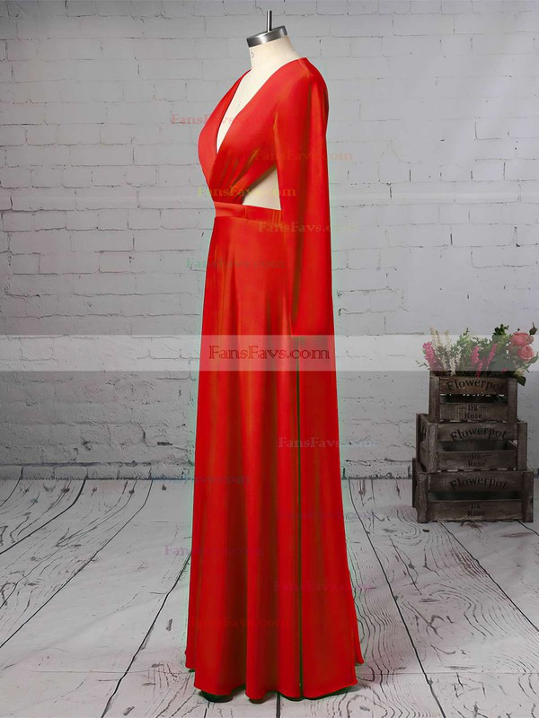 Sheath/Column V-neck Jersey Floor-length Split Front Prom Dresses #Favs020105617