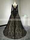 Ball Gown Scoop Neck Court Train Lace Appliques Lace Prom Dresses #Favs020102642