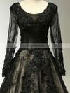 Ball Gown Scoop Neck Court Train Lace Appliques Lace Prom Dresses #Favs020102642