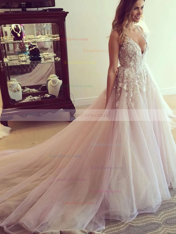 Princess V-neck Tulle Court Train Appliques Lace Prom Dresses #Favs020103499