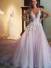 Princess V-neck Tulle Court Train Appliques Lace Prom Dresses #Favs020103499
