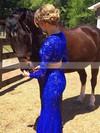Sheath/Column Scoop Neck Lace Floor-length Beading Prom Dresses #Favs020103287