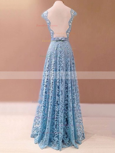 A-line Scalloped Neck Floor-length Lace Prom Dresses with Sashes #Favs020103586