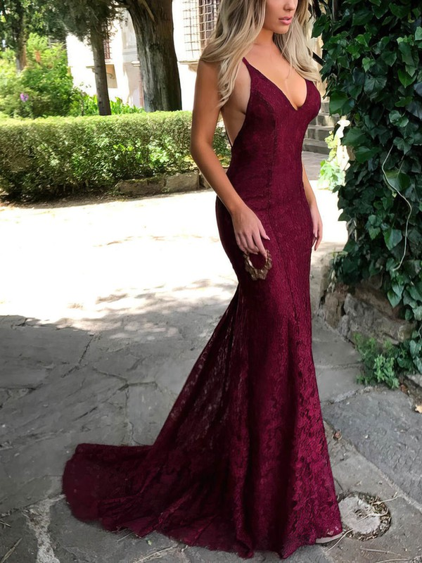 f06094cf6a Trumpet Mermaid V-neck Sweep Train Lace Prom Dresses with Lace   Favs020104811