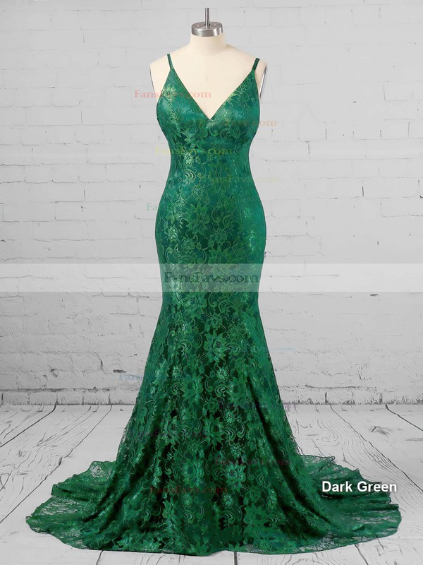 Trumpet/Mermaid V-neck Sweep Train Lace Prom Dresses with Lace #Favs020104811