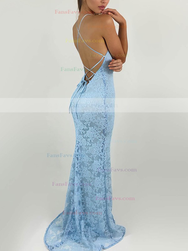 Sheath/Column Scoop Neck Sweep Train Lace Prom Dresses with Lace #Favs020104813