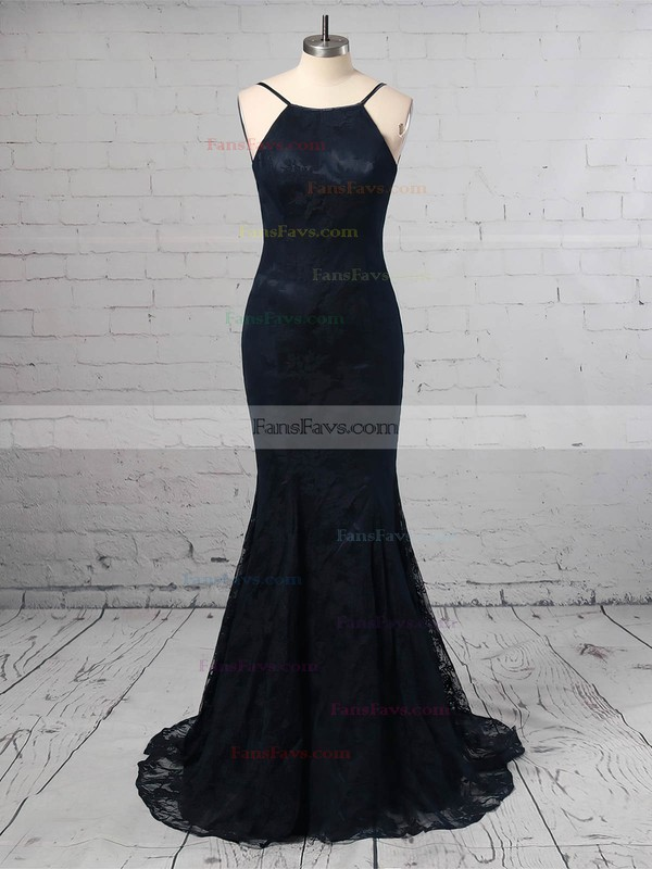 Sheath/Column Scoop Neck Lace Sweep Train Prom Dresses #Favs020104813