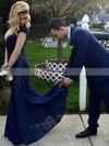 Sheath/Column V-neck Lace Sweep Train Prom Dresses #Favs020104839