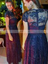 A-line Scoop Neck Lace Floor-length Sashes / Ribbons Prom Dresses #Favs020105639