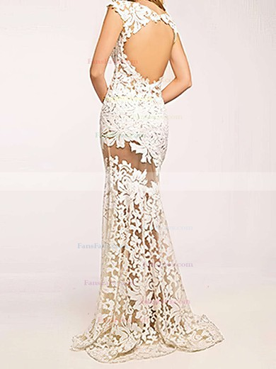 Trumpet/Mermaid Scoop Neck Sweep Train Tulle Prom Dresses with Appliques Lace #Favs020103500