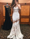 Trumpet/Mermaid Scoop Neck Lace Tulle Sweep Train Appliques Lace Prom Dresses #Favs020103500