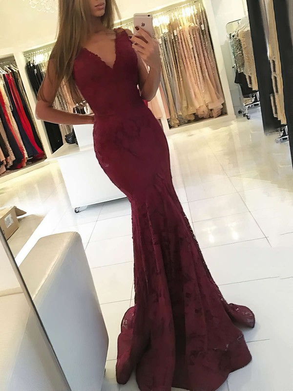 Trumpet/Mermaid V-neck Sweep Train Lace Prom Dresses #Favs020105788