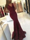 Trumpet/Mermaid V-neck Lace Sweep Train Prom Dresses #Favs020105788