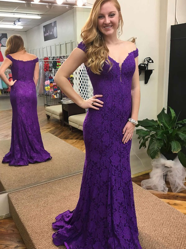 Trumpet/Mermaid Off-the-shoulder Sweep Train Lace Prom Dresses with Appliques Lace Beading #Favs020105798