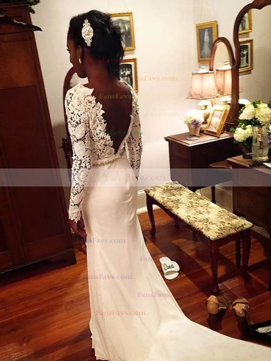 Sheath/Column Scoop Neck Sweep Train Chiffon Prom Dresses with Appliques Lace Beading #Favs020105607