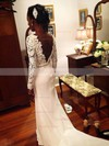 Sheath/Column Scoop Neck Lace Chiffon Sweep Train Beading Prom Dresses #Favs020105607