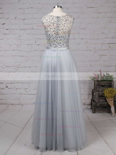 A-line Scoop Neck Tulle Floor-length Beading Prom Dresses #Favs020103502