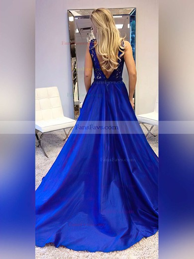 Princess V-neck Lace Satin Sweep Train Sashes / Ribbons Prom Dresses #Favs020105252