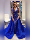 Princess V-neck Lace Satin Sweep Train Sashes / Ribbons Prom Dresses #Favs020105252