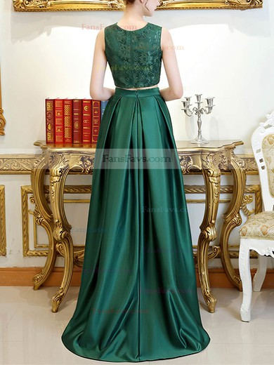 A-line Scoop Neck Lace Satin Asymmetrical Pockets Prom Dresses #Favs020105260