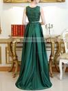 A-line Scoop Neck Lace Satin Asymmetrical Pockets Prom Dresses #Favs020105260