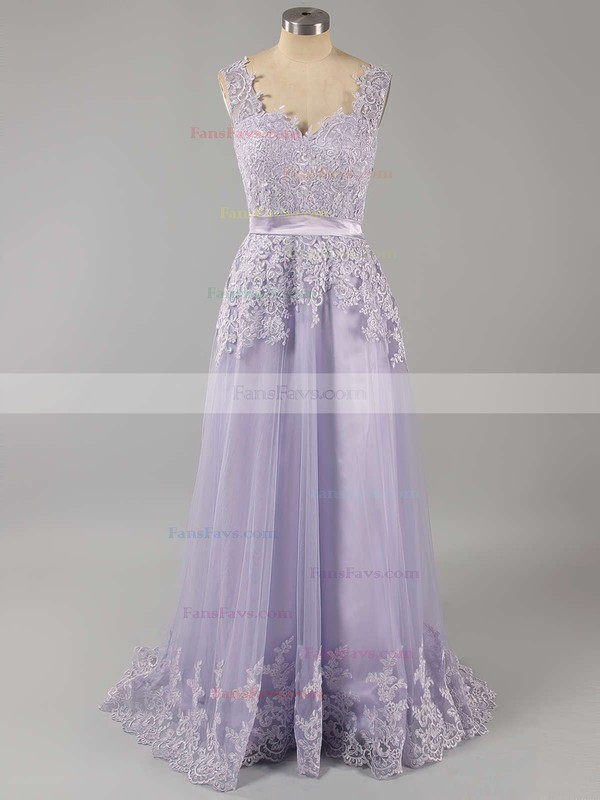 Popular Lace Tulle V-neck Sashes / Ribbons Open Back Prom Dress #Favs02018702