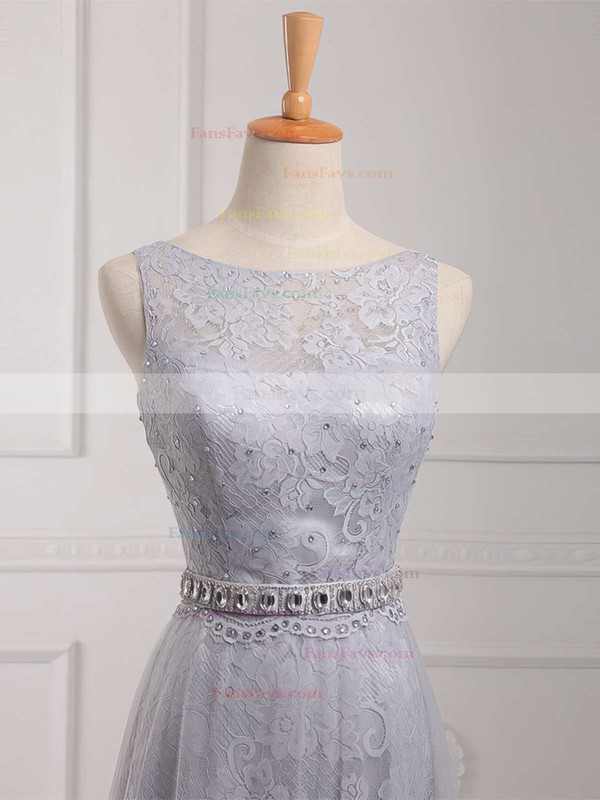 Sheath/Column Scoop Neck Lace Tulle Sweep Train Beading Prom Dresses #Favs020102739