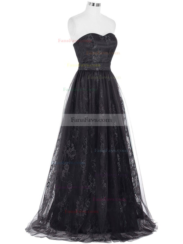 A-line Sweetheart Lace Tulle Floor-length Prom Dresses #Favs020103532