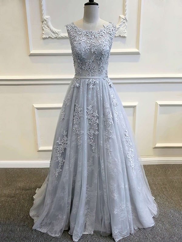 Princess Scoop Neck Sweep Train Tulle Prom Dresses with Appliques Lace Sashes #Favs020103620