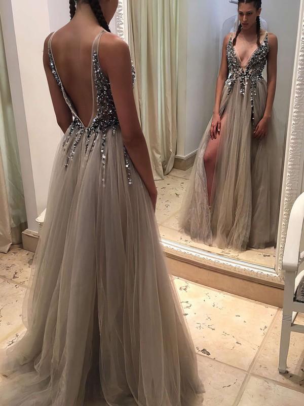 Princess V-neck Tulle Floor-length Beading Prom Dresses #Favs020103505
