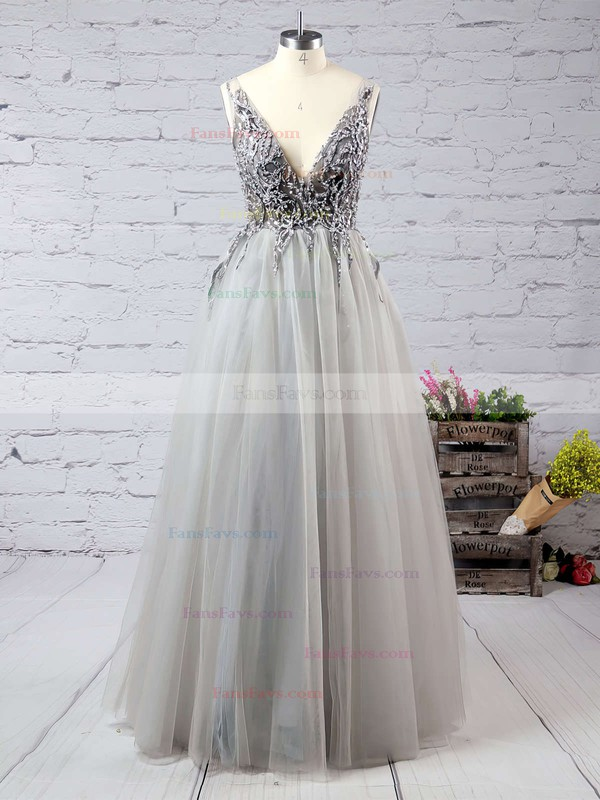 Princess V-neck Floor-length Tulle Prom Dresses with Beading Split Front #Favs020103505