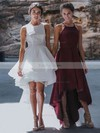 A-line Square Neckline Asymmetrical Lace Tulle Prom Dresses #Favs020105385