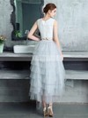 A-line Scoop Neck Lace Tulle Asymmetrical Tiered Prom Dresses #Favs020105394