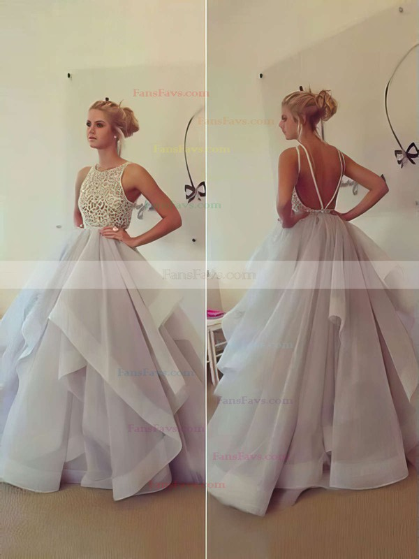 Ball Gown Scoop Neck Organza Sweep Train Beading Prom Dresses #Favs020102394