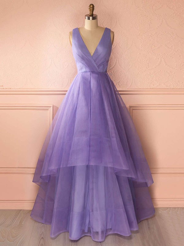Princess V-neck Floor-length Organza Prom Dresses with Ruffle #Favs020102740