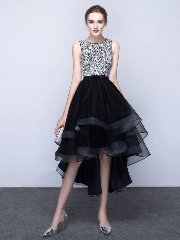 Princess Scoop Neck Asymmetrical Organza Prom Dresses with Beading #Favs020103179