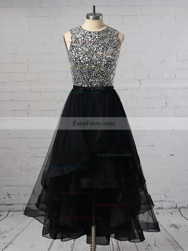 Princess Scoop Neck Organza Asymmetrical Beading Prom Dresses #Favs020103179