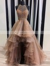 Princess Halter Asymmetrical Organza Prom Dresses with Beading #Favs020103198