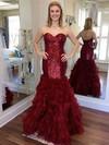 Trumpet/Mermaid Sweetheart Organza Sequined Floor-length Cascading Ruffles Prom Dresses #Favs020105810