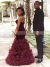 Trumpet/Mermaid V-neck Organza Velvet Floor-length Cascading Ruffles Prom Dresses #Favs020105494