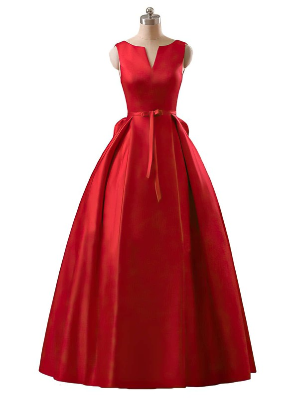 Princess Scoop Neck Floor-length Satin Prom Dresses with Sashes #Favs020102746