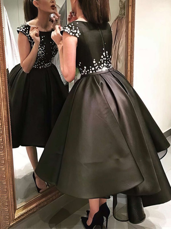 Ball Gown Scoop Neck Satin Asymmetrical Appliques Lace Prom Dresses #Favs020103073