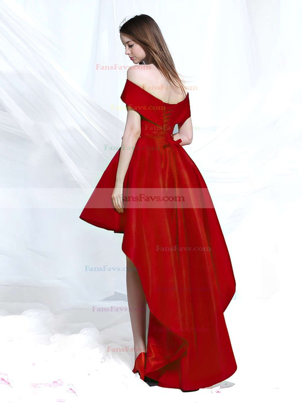 A-line Off-the-shoulder Asymmetrical Satin Prom Dresses with Sashes #Favs020103189