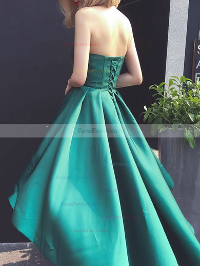 A-line Sweetheart Asymmetrical Satin Prom Dresses with Ruffle #Favs020103201
