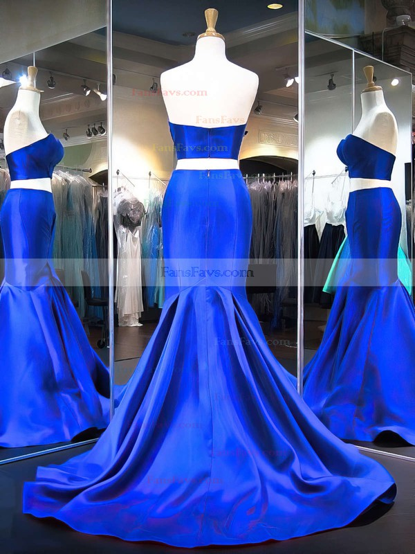 Trumpet/Mermaid Sweetheart Satin Sweep Train Prom Dresses #Favs020103271