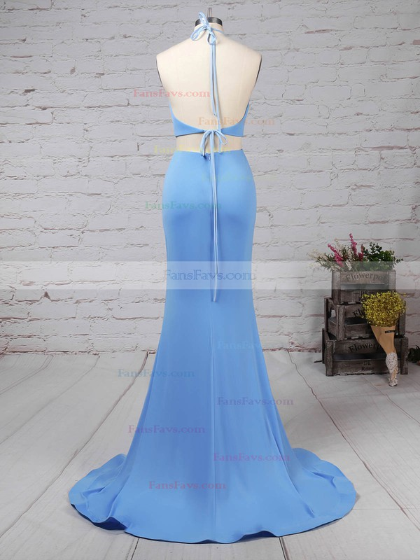 Trumpet/Mermaid Halter Court Train Satin Prom Dresses with Ruffle #Favs020103310