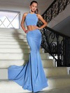Trumpet/Mermaid Halter Court Train Satin Prom Dresses with Ruffle #Favs020103310